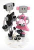 """Robots in Love"" Wedding Cake Topper - Polymer & Wire - Full Body by HerArtSheLoves"