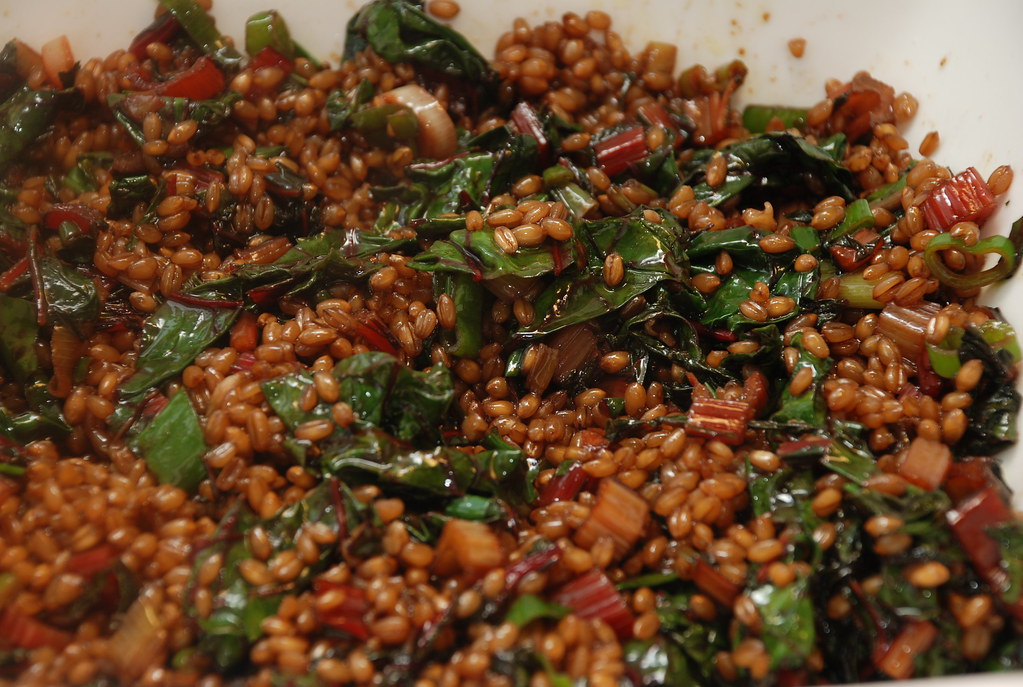wheat berries with balsamic, red chard, and scallions