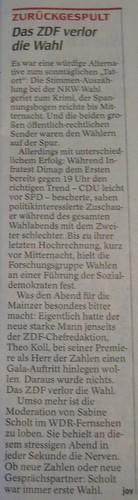 WAZ-Berichterstattung zum ZDF bei der Landtagswahl NRW 2010 (11.05.2010)