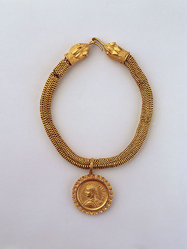 A Magnificent Roman Gold Necklace with Snake Protome Termini and a Pendant with a Medallion of Gordian III