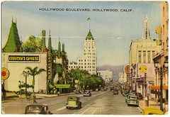 Hollywood_bk_tatteredandlost (T and L basement) Tags: hollywood postcards beverlyhills griffithobservatory hollywoodbowl hollywoodboulevard longshawcardcompany warnerbrothersstudio vintagehollywood carthaytheater