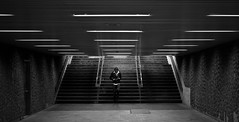 (ssj_george) Tags: old people bw white canada man black monochrome station leather stairs train hair underground walking lens lumix person lights blackwhite lowlight raw pattern shadows place metro d montreal tube steps down file panasonic grease fluorescent jacket staircase pancake 20mm dmc vieux lightroom armes placedarmes greased f17 gf1 iso500 georgestavrinos ssjgeorge γιώργοσσταυρινόσ giorgosstavrinos