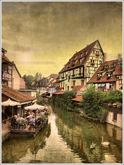 The parasol (Jean-Michel Priaux) Tags: city house france texture tourism architecture photoshop river painting colmar alsace picturesque hdr tourisme colombage patrimoine timbered pittoresque patrimony priaux mygearandme ringexcellence