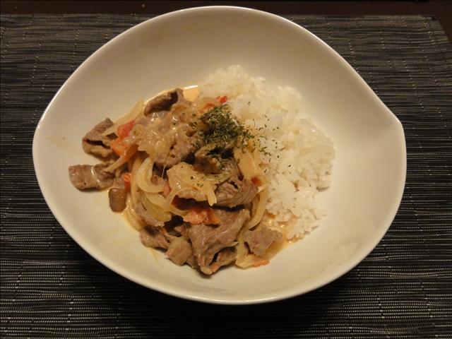 2011年5月17日 夕食(ビーフストロガノフ風スープごはん)