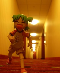 Yotsuba & the Hallways (Sasha's Lab) Tags: travel macro cute marriott toy carpet actionfigure hotel dof action manga running hallway explore kawaii figure rug suite forcedperspective picnik koiwai kaiyodo yotsuba explored revoltech  enjoytravel