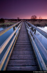 (Claire Hutton) Tags: wood uk longexposure bridge trees winter sunset england water river evening countryside vanishingpoint wooden south perspective dorset fields wimborne pamphill eyebridge