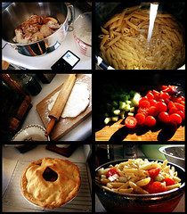 1/365 - Food (intocollidingentropy) Tags: family fiction food cooking apple pie salad pin ipod dough tomatoes bowl pasta flour rolling cucumbers backing
