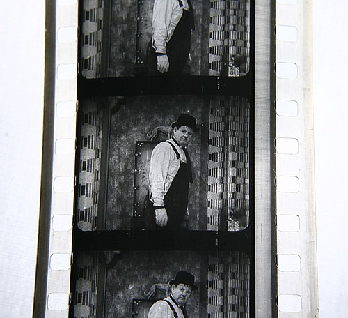 35mm film of Oliver Hardy in The Music Box (1932), by Mat Price, Creative Commons: Attribution 2.0.