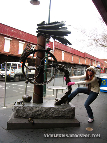 me being silly at statue