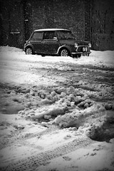 Snow 'n' Slush (ComfortablyNumb...) Tags: winter blackandwhite bw white snow black cold classic cars ice monochrome car canon eos is blackwhite mini automotive rover monotone cooper motor usm ef 28300mm picnik classicmini motorcar lseries 13i 1car blackwhitephotos classicminicooper 40d canoneos40d classicminicoopers