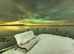 Rest in Snow (mortenprom) Tags: ocean morning winter light sea sky orange sun snow plant black color reflection ice beach nature water yellow oslo norway stone clouds sunrise bench landscape island golden norge sand chair rocks ship steel tripod skandinavien steps norwegen wideangle chain shore noruega february scandinavia peninsula 2009 footprint hdr goldenhour oslofjord habour huk noorwegen noreg wideangel sigma1020mm skandinavia nd1000 nd30 bw110 aplusphoto canoneos40d nd1000x naturaldensityfilter mortenprom