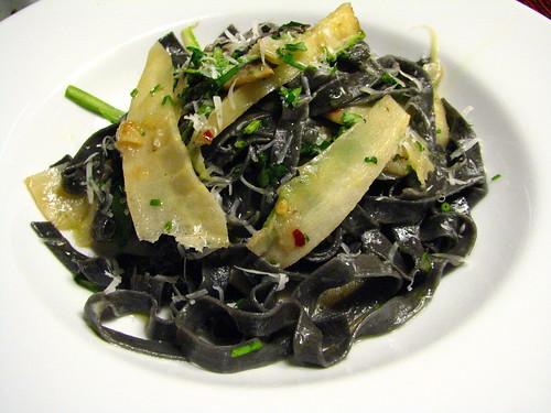 Tagliatelle Neri con Nastri della Pastinaca (Black Tagliatelle with Parsnip Ribbons)