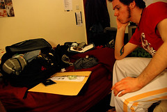 Y2 Day 32/365 12 February 2009: I Could Burst (Mister J Photography) Tags: selfportrait packing yeartwo myroom thenightbefore 365days 10secondtimer offtoseemybabytomorrow sososoexcited