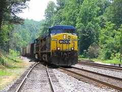 CSX northbound mixed merchandise freight train at Marion, North Carolina, June 2007 (alcomike43) Tags: railroad train switch diesel engine locomotive ge rightofway csx freighttrain turnout mainline dieselelectriclocomotive cw44ac clinchfield marionnorthcarolina mixedmerchandisefreighttrain