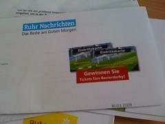 Umfrage der Ruhr Nachrichten mit der Möglichkeit Tickets zum Revierderby zu gewinnen