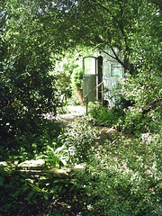 Caravan Grove (PureWarriorMaiden - More off than at the mo : )) Tags: trees plants nature garden grove path caravan secretgarden charmouth