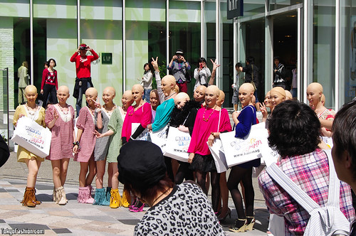 Bald Girls Posing in Harajuku