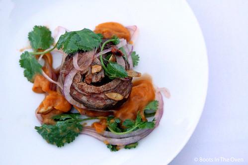 Lamb Belly, Sweet Potato Puree, Chili Oil