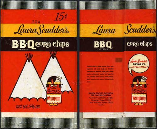 Laura Scudders BBQ Corn Chips 15-cent bag featuring Chief Wampum - 1970