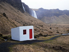 The Little House at the End of the World (djemde) Tags: world red house mountain island volcano waterfall iceland dolls little earth end lands finisterre eyjafjallajökull 5photosaday mywinners