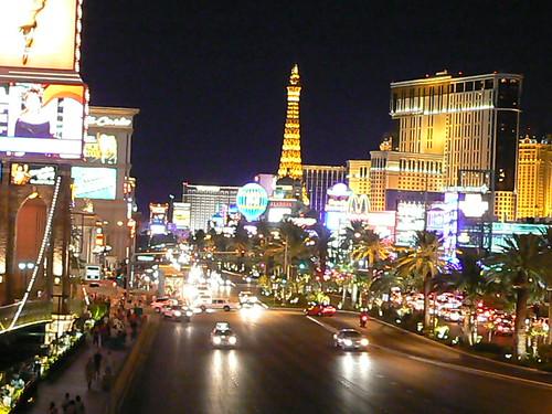 vegas strip at night. Night street view of las vegas