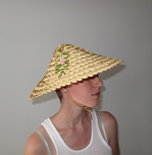 vintage woven hat with colored seashells
