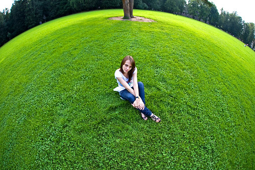 The girl on a sphere