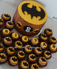 Tristan's Batman Birthday Cake and Cupcakes (TheLittleCupcakery) Tags: birthday blue boy baby 3 cake tristan shower cupcakes babies little batman footprint tlc fondant cupcakery xirj klairescupcakes