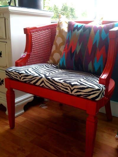 red cane chair w/ zebra cushion