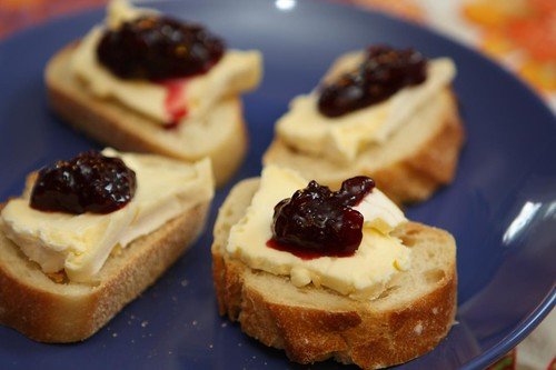 D'Affinois and Sour Cherry Spread on Baguette