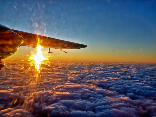 sunset, airplane, clouds