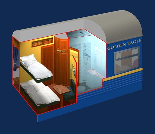 Train Chartering - The Golden Eagle's Gold Class plan by night