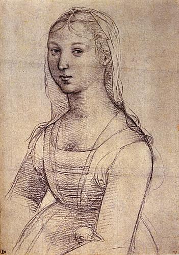 1504  Raphael    A young Woman, Half-length  Black chalk  25,9x18,3 cm  ltBibliothèque municipale