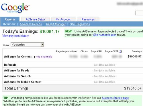 Adsense Income