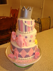 Emerson's Tiara Cake (Little Sugar Bake Shop) Tags: birthday pink flowers tiara girl highheel girly stripes wand pearls bow littlegirl slipper polkadot puple topsyturvey teacupandsaucer diamondpattern