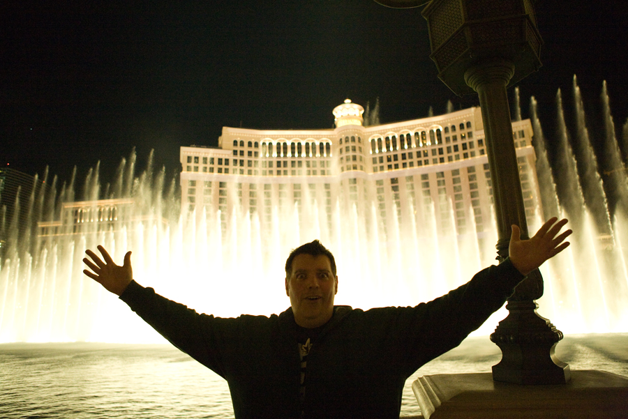 Dan commanding the fountains at the Bellagio