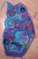 Cardigan (Arm piece 1) in progress (regulli) Tags: freestyle cardigan freeform hkeln freeformcrochet
