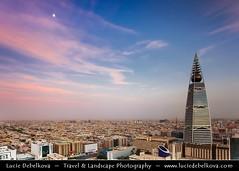 Saudi Arabia - Riyadh - Sunset over Al Faisaliah Tower - 60-story building with a gently curving shape has a restaurant encapsulated in the gol