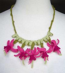 crochet fuschia necklace (meekssandygirl) Tags: pink flowers necklace crochet jewelry fuschia cashmere