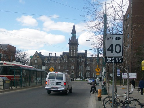 Looking north from Spadina and College