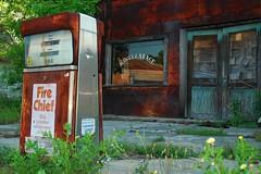 A King & A Chief (MilkaWay) Tags: abandoned window reflections rust mainstreet gasstation gaspump firechief repairshop pitts kingsgarage wilcoxcounty smalltowngeorgia ga215