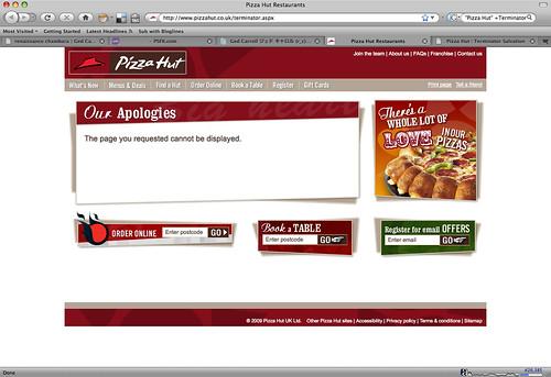 Pizza Hut: Terminator  microsite 404 page