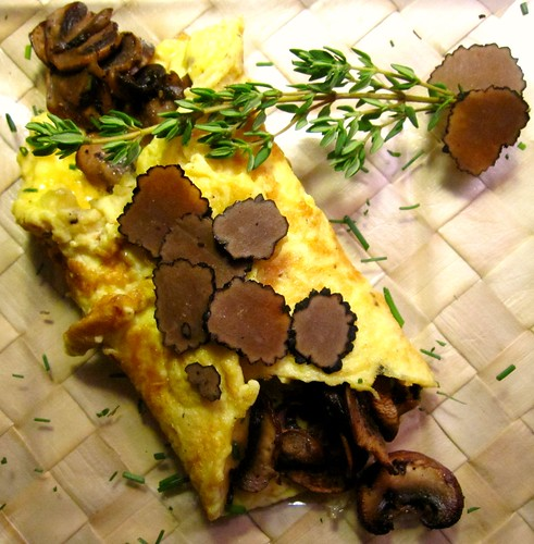 Black Truffle Omelette with Mushrooms and Chives