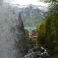 Mrchenschloss and Waterfalls (Ginas Pics) Tags: snow tourism fairytale hotel switzerland waterfall wasserfall gebude ginaspics fairytalecastle watermountain griessbach mrchenschlossinswitzerlan
