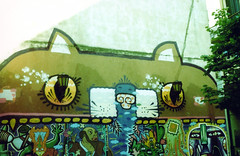 San Telmo, Buenos Aires, Argentina (daz tazer) Tags: trip blue film argentina yellow cat 35mm xpro san fuji cross buenos aires iii olympus graffitti fujifilm ba 35 fujichrome provia processed zuiko telmo 100f rdp