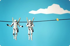 It's not my fault! (powerpig) Tags: sky cloud butterfly starwars stormtrooper clothesline