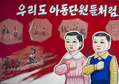 Poster in a primary school - North Korea (Eric Lafforgue) Tags: pictures photo war asia propaganda picture korea kimjongil asie coree northkorea dprk propagande coreadelnorte kimilsung nordkorea    coredunord coreadelnord  northcorea coreedunord  insidenorthkorea  rpdc  coriadonorte  kimjongun coreiadonorte