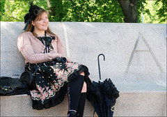 034 (eliza_brown) Tags: girls classic hat fashion picnic sitting lolita parasol lina lincolnparkzoo lincolnpark lolitas japanesefashion japanesestreetfashion