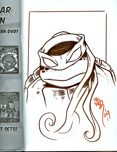 TMNT: TEENAGE MUTANT NINJA TURTLES Volume 4 # 30 // ..tOkKa's back cover TMNT head sketch by Eric Talbot (( MAY 2009 ))