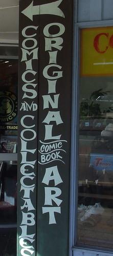 Sign at Fats Comics, Ipswich Rd, Annerley Junction, Brisbane, Queensland, Australia 090617